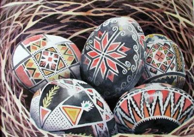 Ukranian Eggs in a Nest